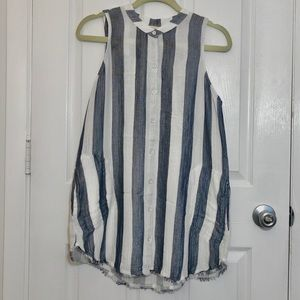 Blue Stripe Sleeveless Button top By Cloth & Stone